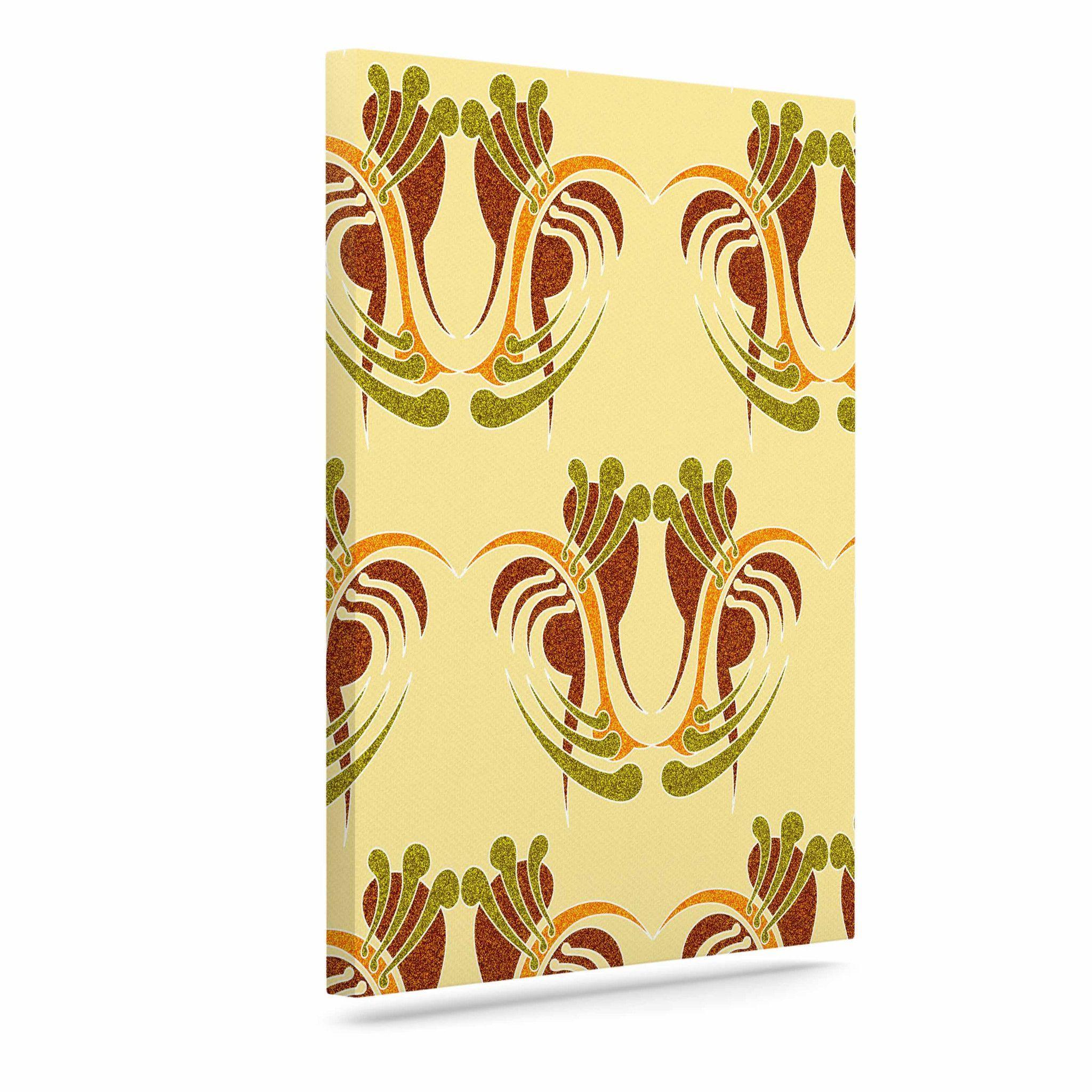 "Dan Sekanwagi ""Curvaceous"" Yellow Pattern Outdoor Canvas Art"