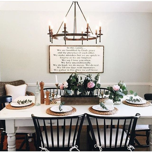Farmhouse table centerpiece farmhouse dining room formal for Formal dining room wall decor