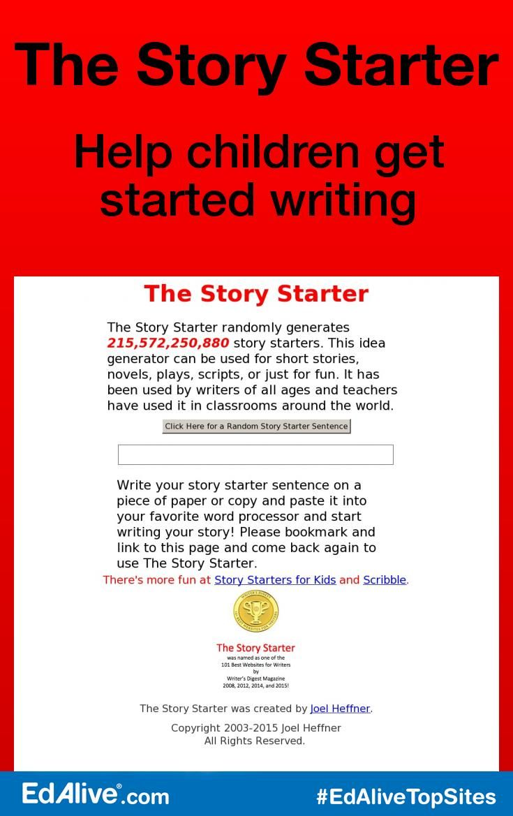 The Story Starter | Words and Spelling | Story starters