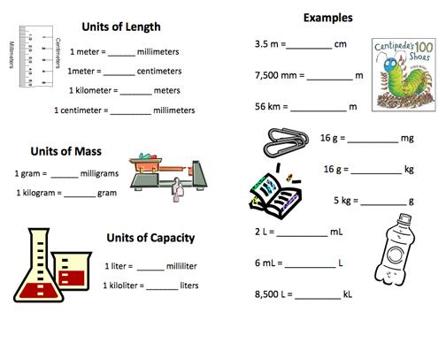Metric measuring units worksheets