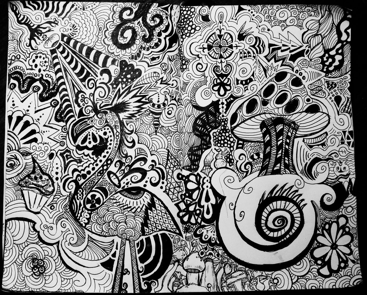 Psychedelic Groovy Doodles Vector Designs — Stock Vector ...