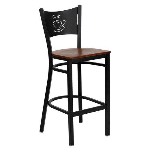 Flash Furniture Hercules Series Black Coffee Back Metal Restaurant Bar Stool with Cherry Wood Seat XU-DG-60114-COF-BAR-CHYW-GG