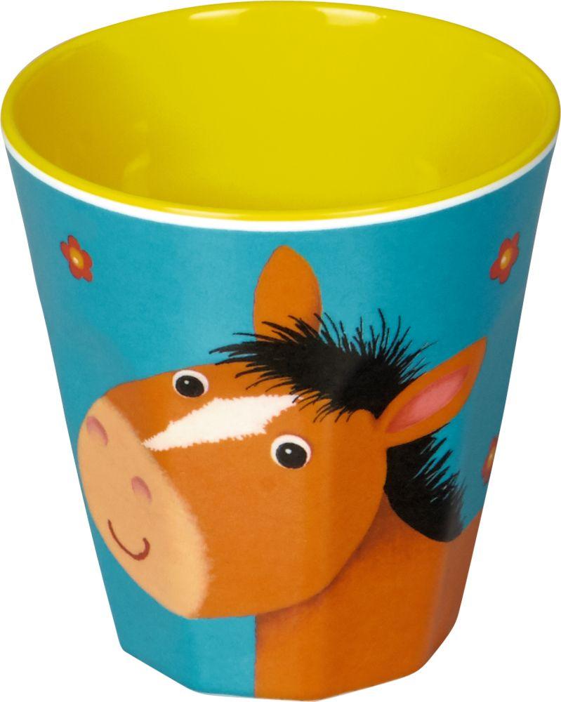 Liebevoll gestaltete Melamin Becher Pferd der neuen Kollektion
