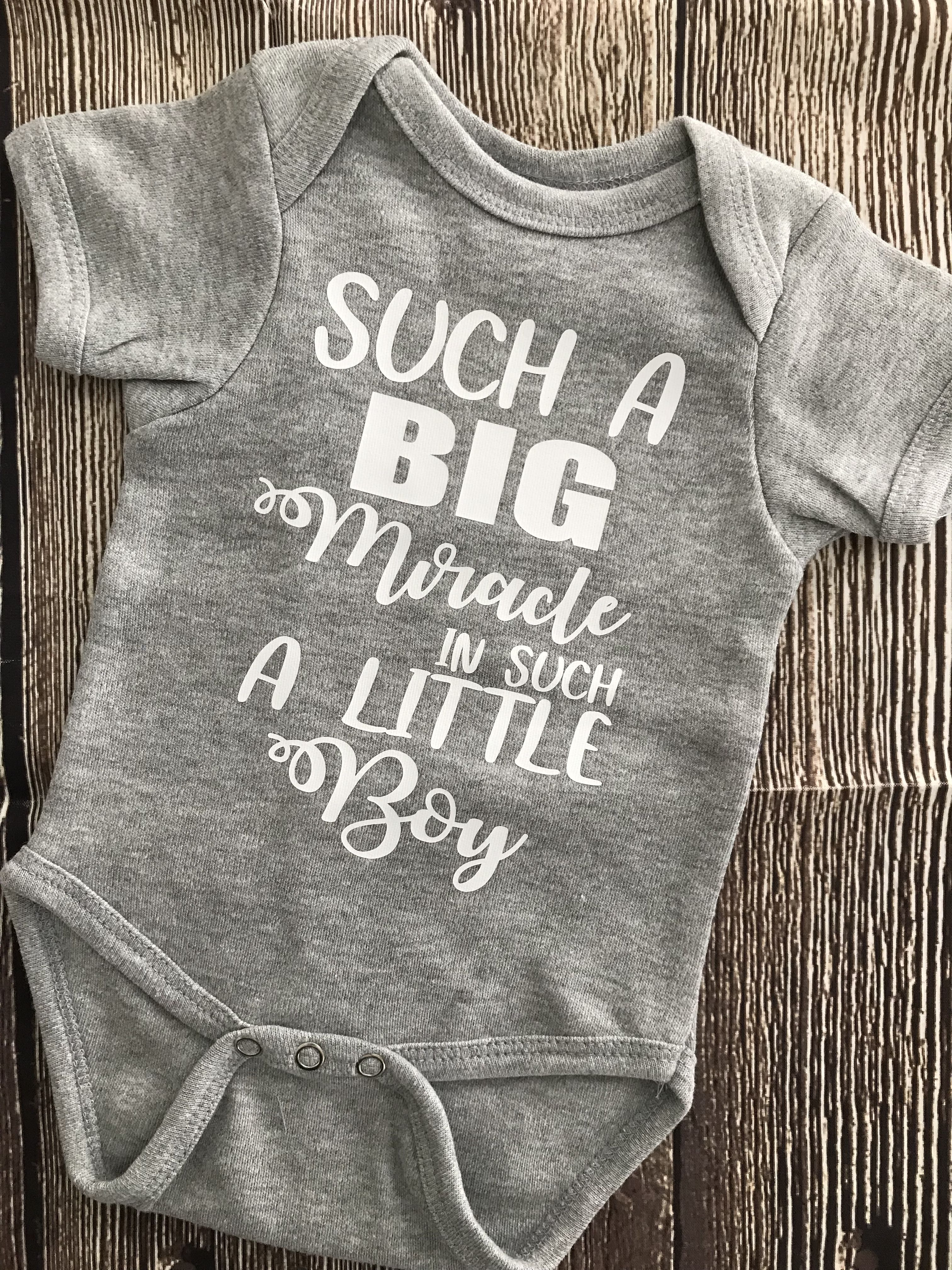 8cf72c0d8 Such a Big Miracle in such a Little Boy Infant Onesie