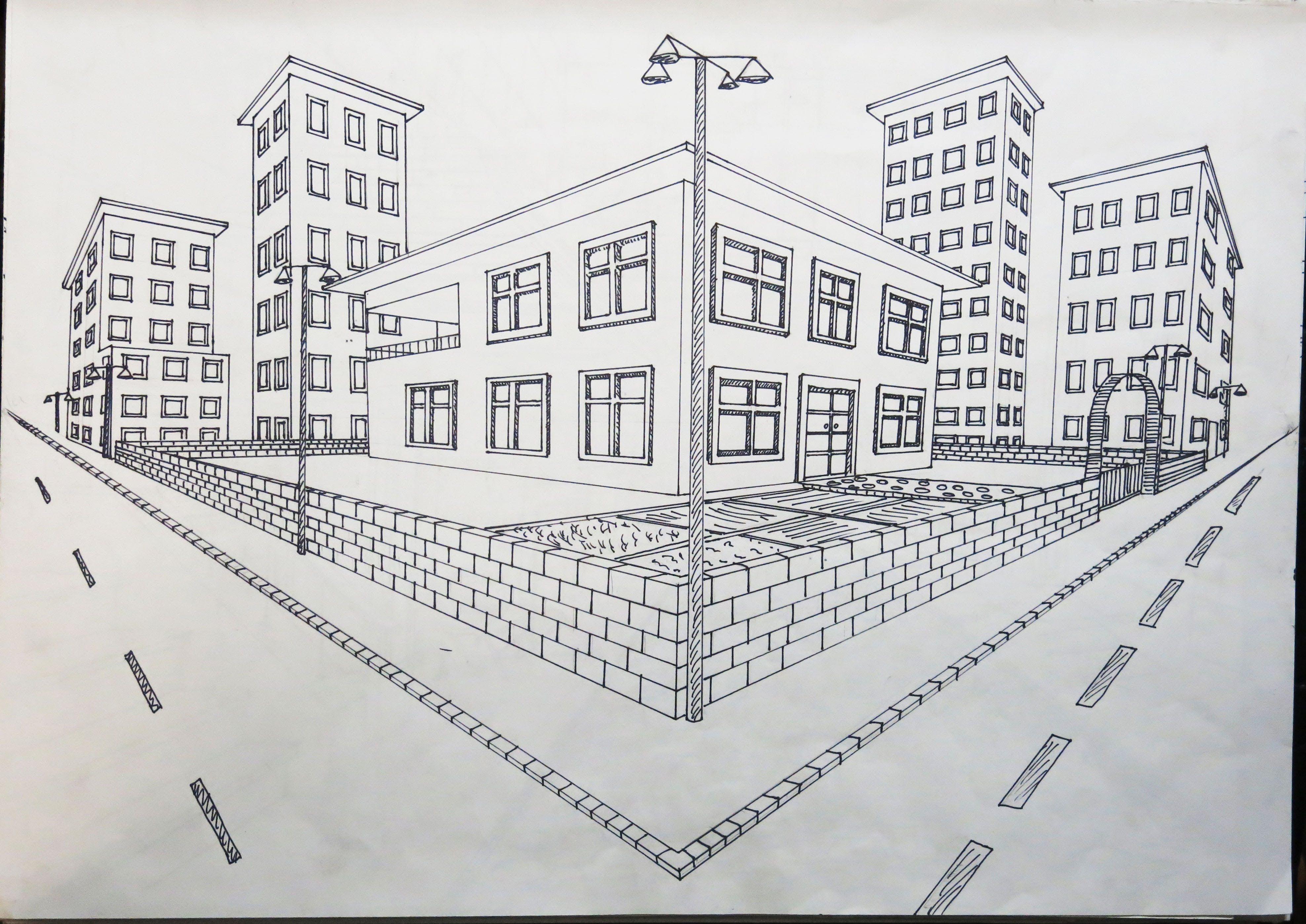 Iki Noktada Kaçışlı Dış Mekan Tasarımı çizimler 2019
