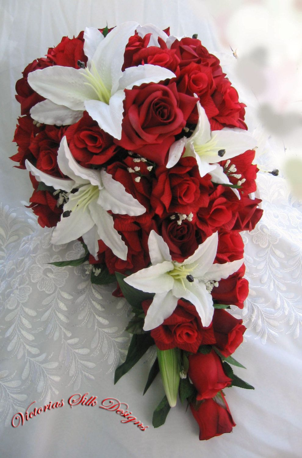 Red roses and white lilies cascade bridal bouquet 2 pieces