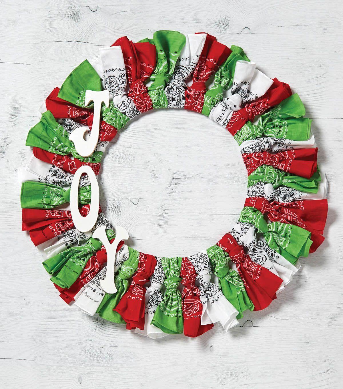 How to make Red White and Green Joy Christmas Bandana Wreath ...
