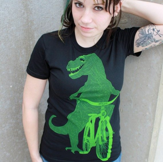 dinosaur on a bicycle from darkcycleclothing