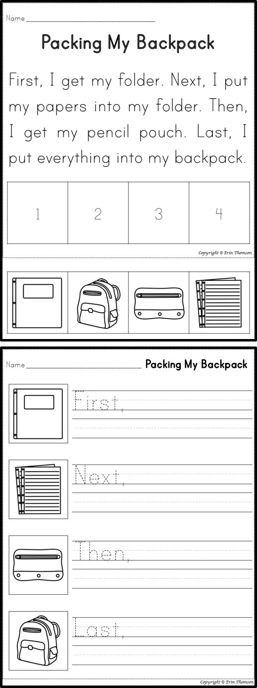 Packing My Backpack Sequencing Story ~ Perfect for Back to School ...