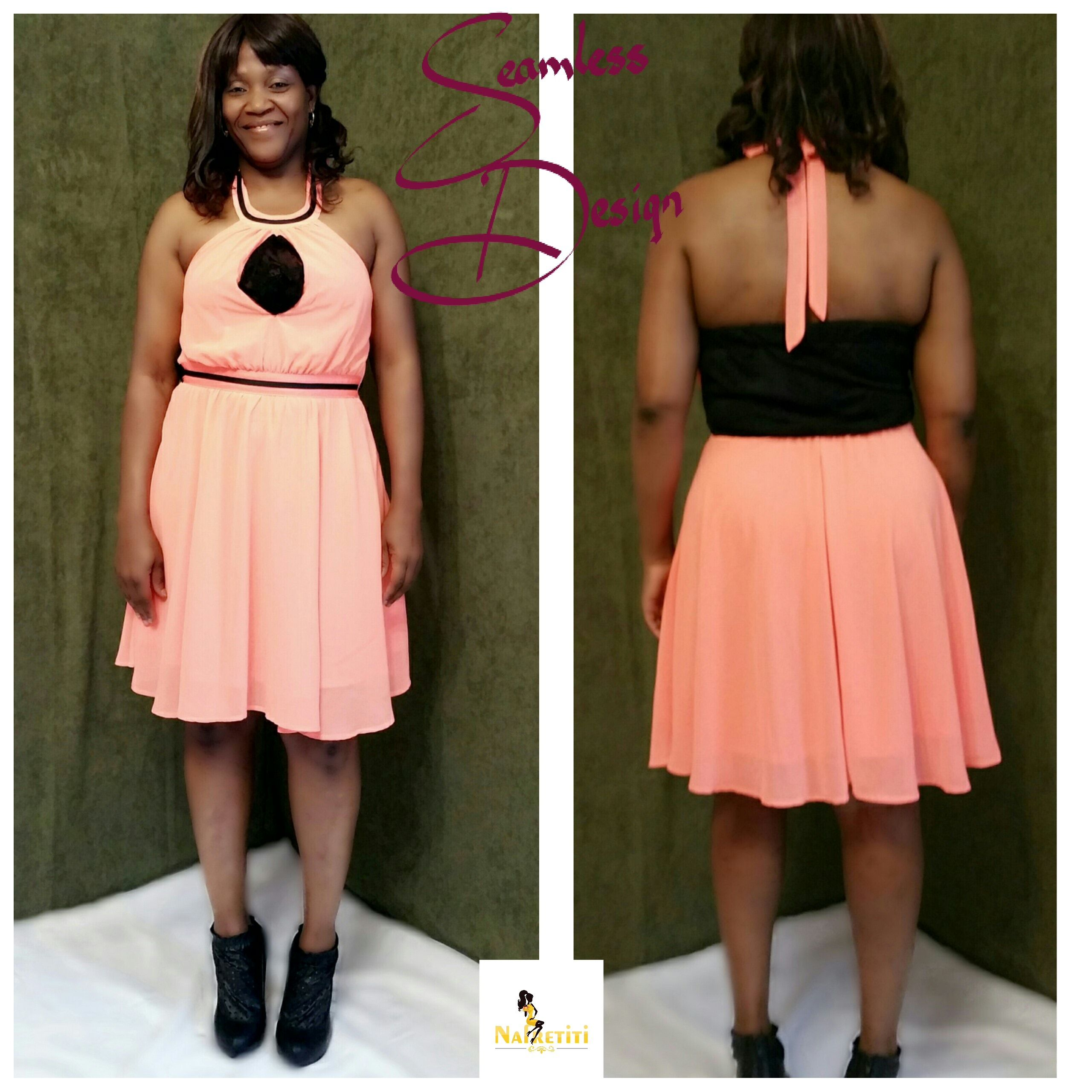 Coral and black Holter top dress.    Fabric: Georgette and Lace    Size: 10 | Shop this product here: http://spreesy.com/Nafretiti/27 | Shop all of our products at http://spreesy.com/Nafretiti    | Pinterest selling powered by Spreesy.com