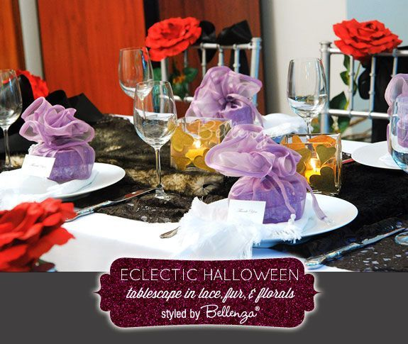 Eclectic Halloween table setting in a palette of black, red, and - halloween table setting ideas