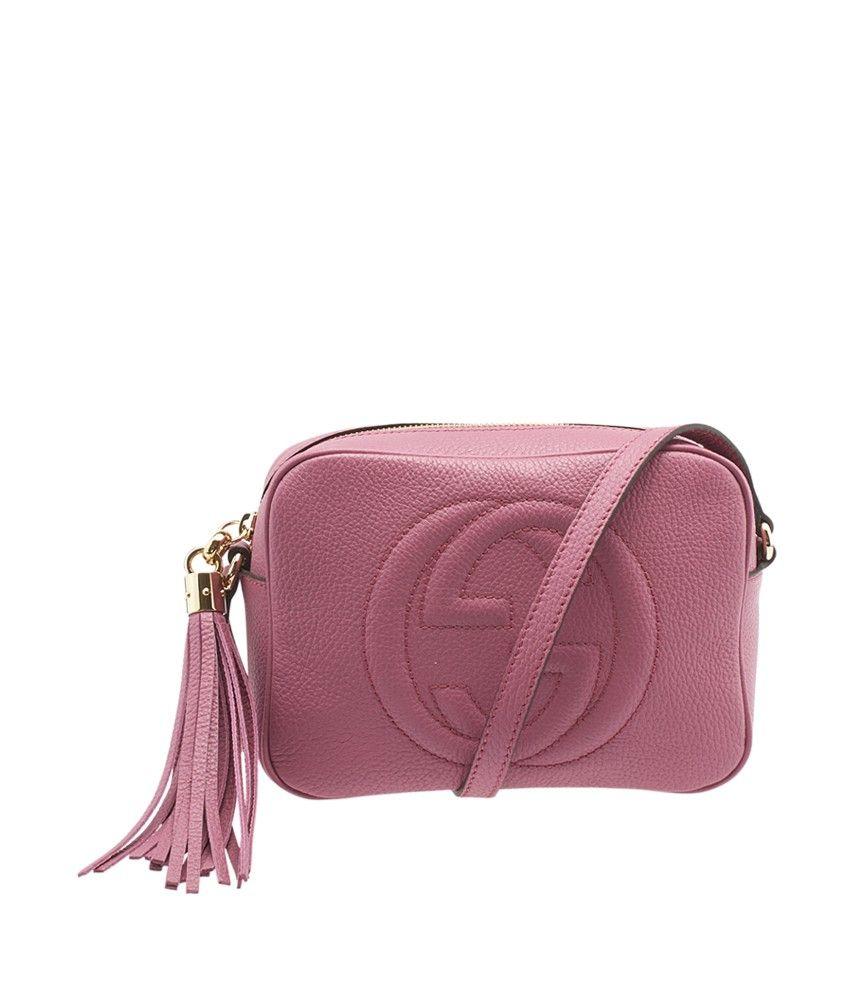 114d0f68bca Gucci Soho Disco Pink GG Leather Crossbody Bag