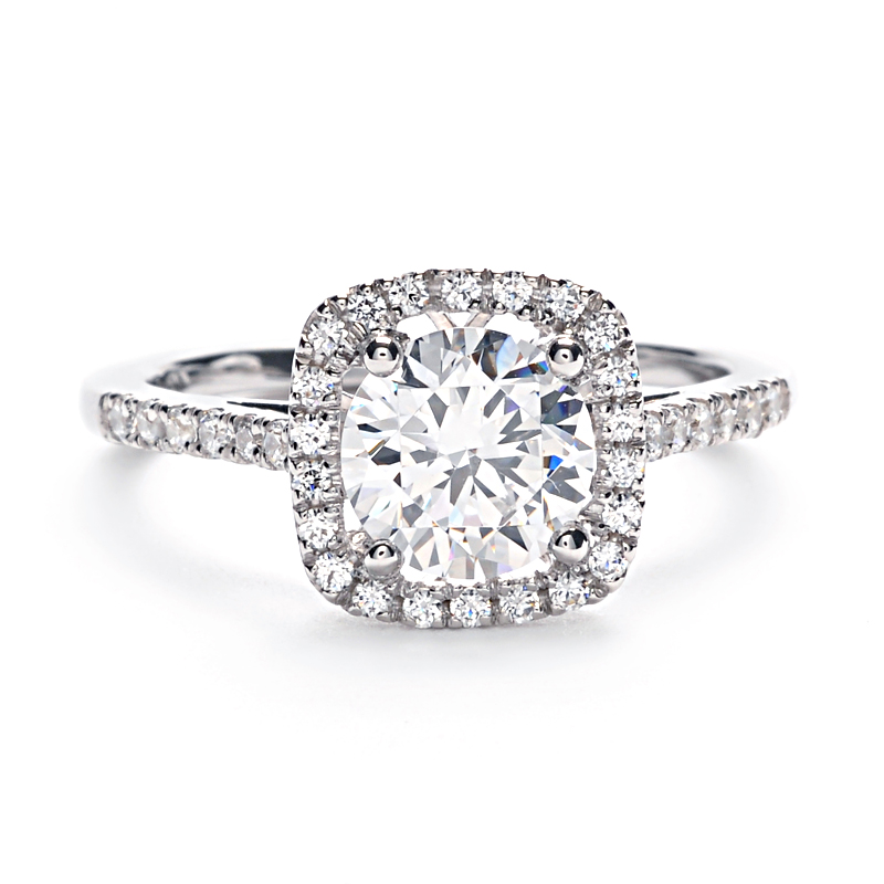 Engagement Ring Round Diamond Square Halo 17
