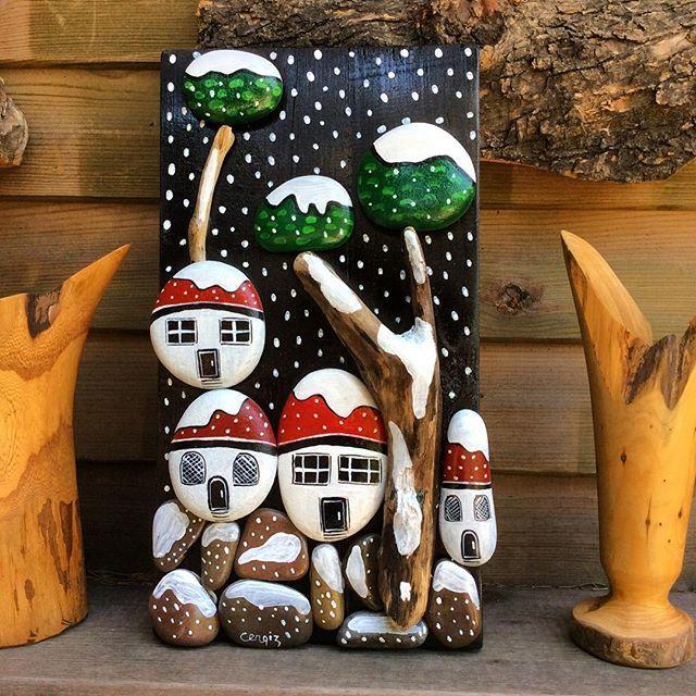 Manzara Elyapimi Handmade Dogal Naturel Yagliboya Kar Stone Stonepainting Tas Tasboyama Hediyelik Gift Noel Elisleri Boyali Kayalar Sanat Panolari