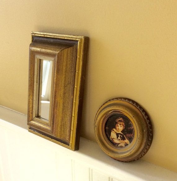 Vintage Set of Two, Small Gold Mirror & Round Italian Gold Frame ...