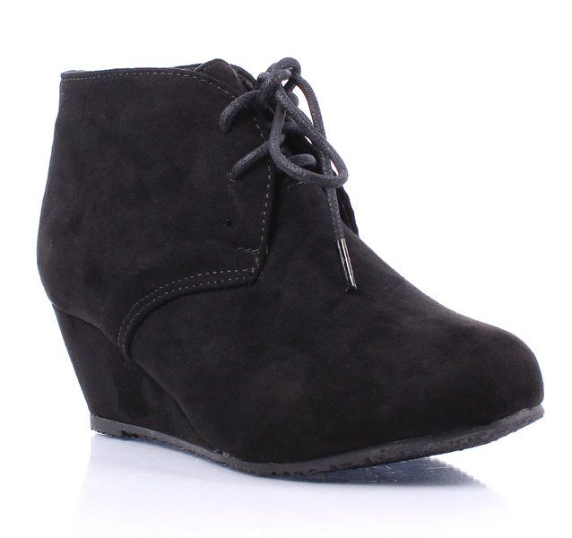 Cute Fashion New Faux Suede Pumps Lace up Girls High Heels Kids Ankle Boots  Youth Size Shoes New Without Box Black)