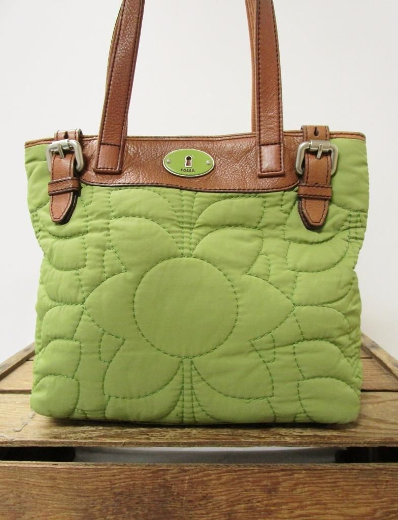 Fossil Keyper Embroidered Green Quilted Per Nylon Tote Bag Shoulder Purse Ebay