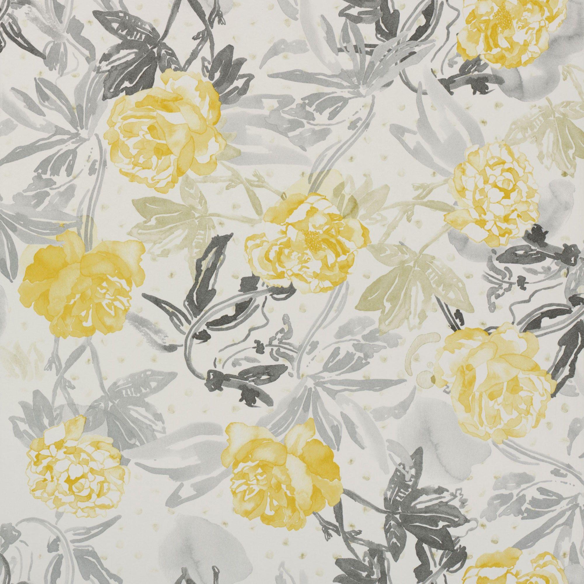 Roses Watercolour Golden Yellow And Grey Wallpaper Pinterest
