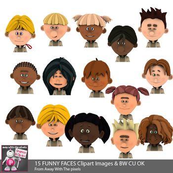 Funny Faces Clipart - 15 Kids Faces Color Clipart Images ...