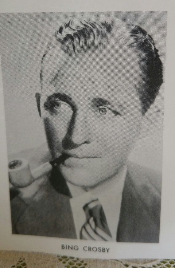 Bing Crosby with His Pipe Vintage Black and White Photograph