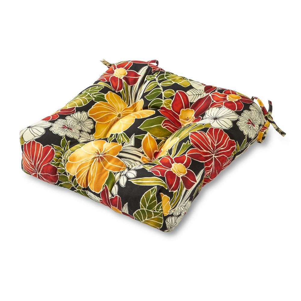 Greendale Home Fashions Aloha Floral Black Square Tufted