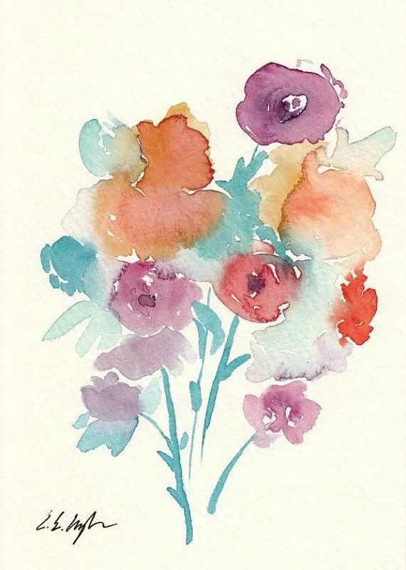 Semi Abstract Floral Original Watercolor Painting 5x7 Teal