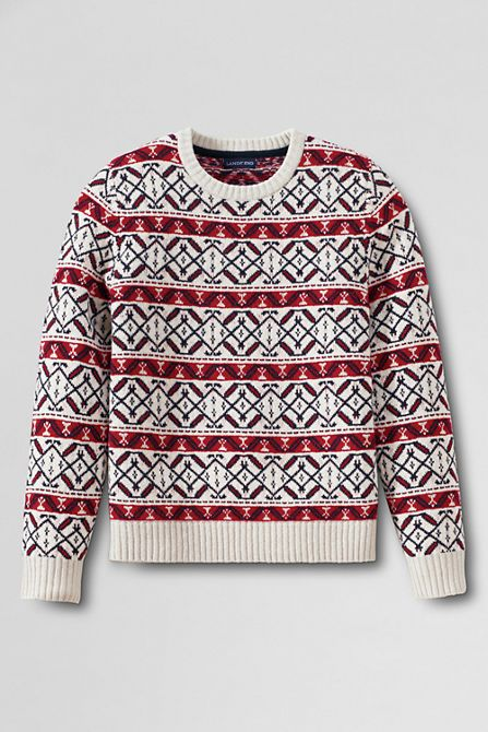 Men's Lambswool Fair Isle Crewneck Sweater from Lands' End | wish ...