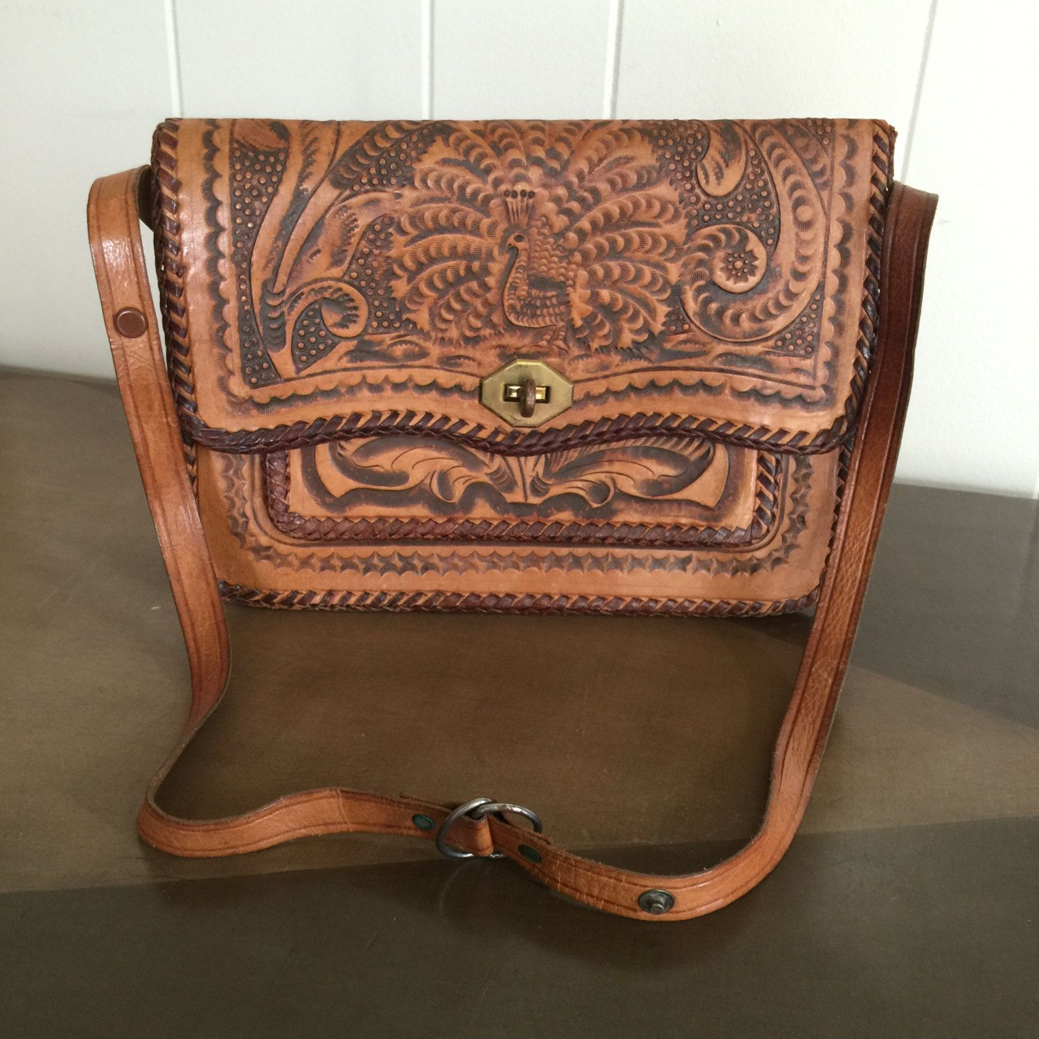 Vintage Tooled Leather Purse Handbag With Peacock Motif