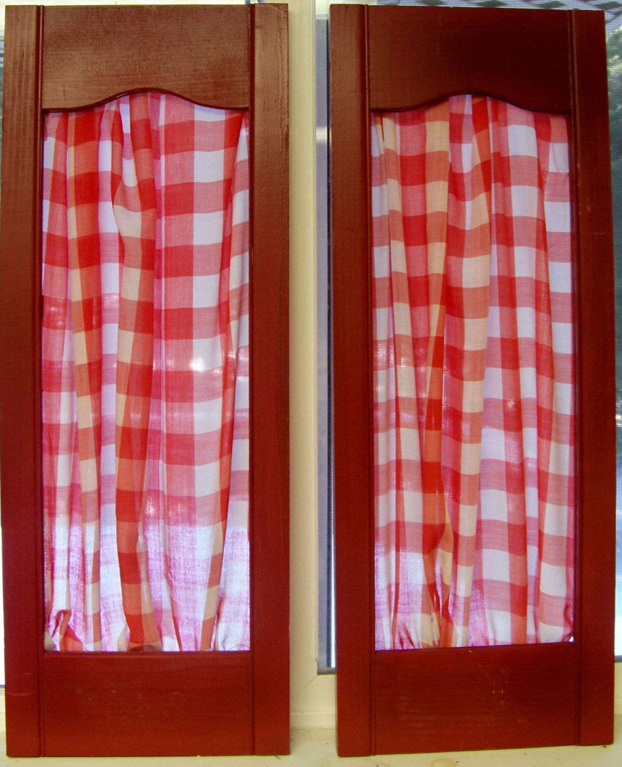6 Vintage Red Shutter Panels With Red Gingham Fabric