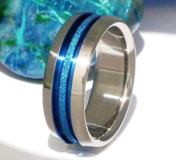 thin blue line and frost titanium wedding band b16