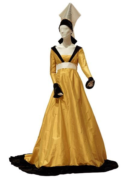 The Morgan Library & Museum Online Exhibitions - Illuminating Fashion: Dress in the Art of Medieval France and the Netherlands - Replicas...Yellow gown (silk doupion) with black collar, cuffs, and hem (crushed silk velvet), white belt (silk doupion), and black turret (silk taffeta and crushed silk velvet) with transparent veil (silk organdy).
