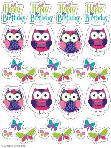 4 Stickerboegen Trendy Eule Eulen Geburtstag Party Deko