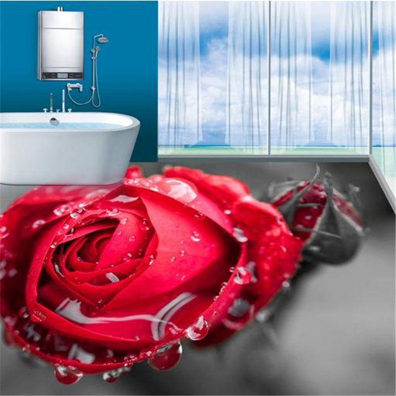 Papel de parede anpassen 3d-bodenbelag rosen tapete 3d - bodenfliesen für badezimmer