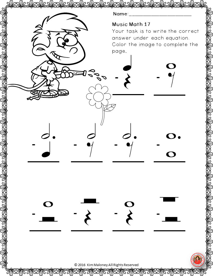 Music Math With A Spring Theme 26 Worksheets Aimed At Reinforcing