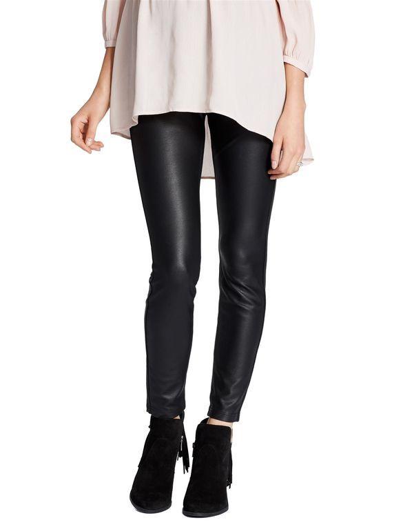 f037f6c59b7b0 Jessica Simpson Secret Fit Belly Faux Leather Maternity Leggings, Black