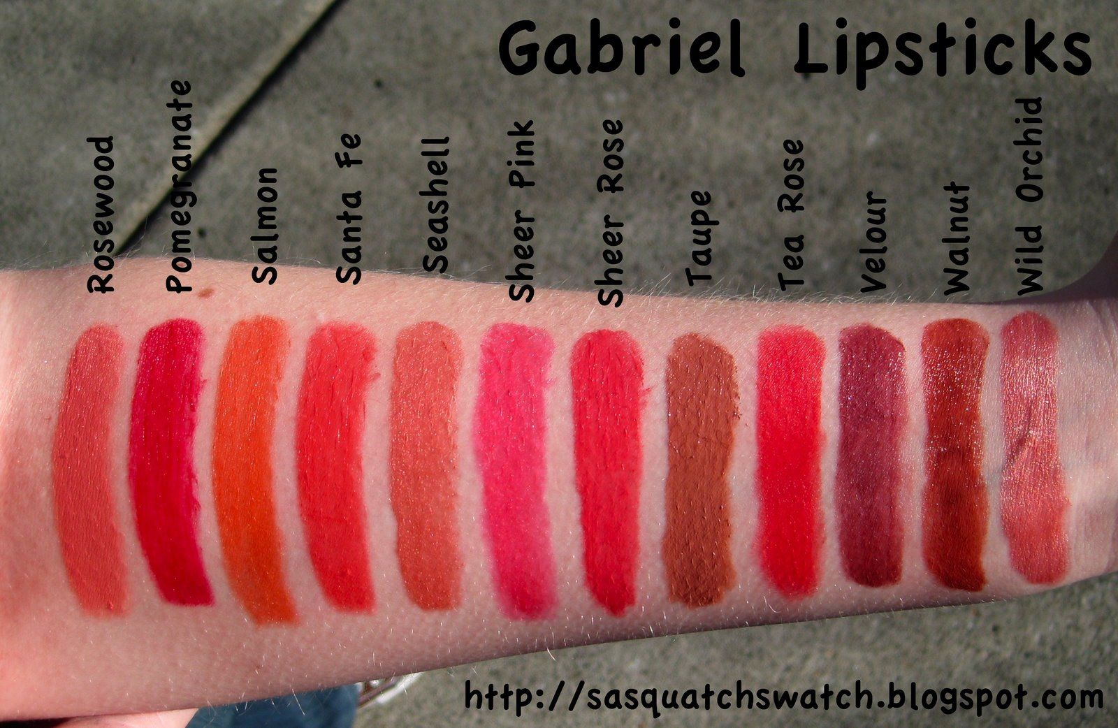 Gabriel Cosmetics Lipstick in Pomegranate (2nd from left