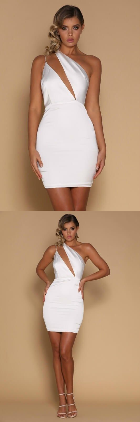 White short mermaid prom dress sexy white homecoming dress sexy