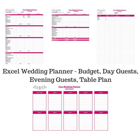 Wedding Planner Excel Spreadsheet, Wedding Planner Budget Tracker - wedding spreadsheet template