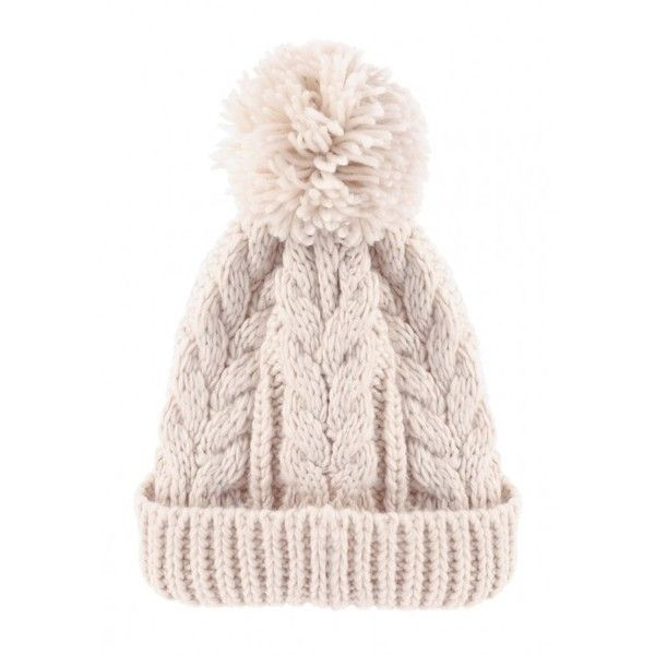 Womens Cream Cable Knit Beanie ( 6.75) ❤ liked on Polyvore featuring  accessories 8339114d8