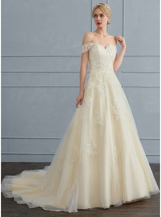 Ball-Gown Off-the-Shoulder Court Train Tulle Wedding Dress With ...