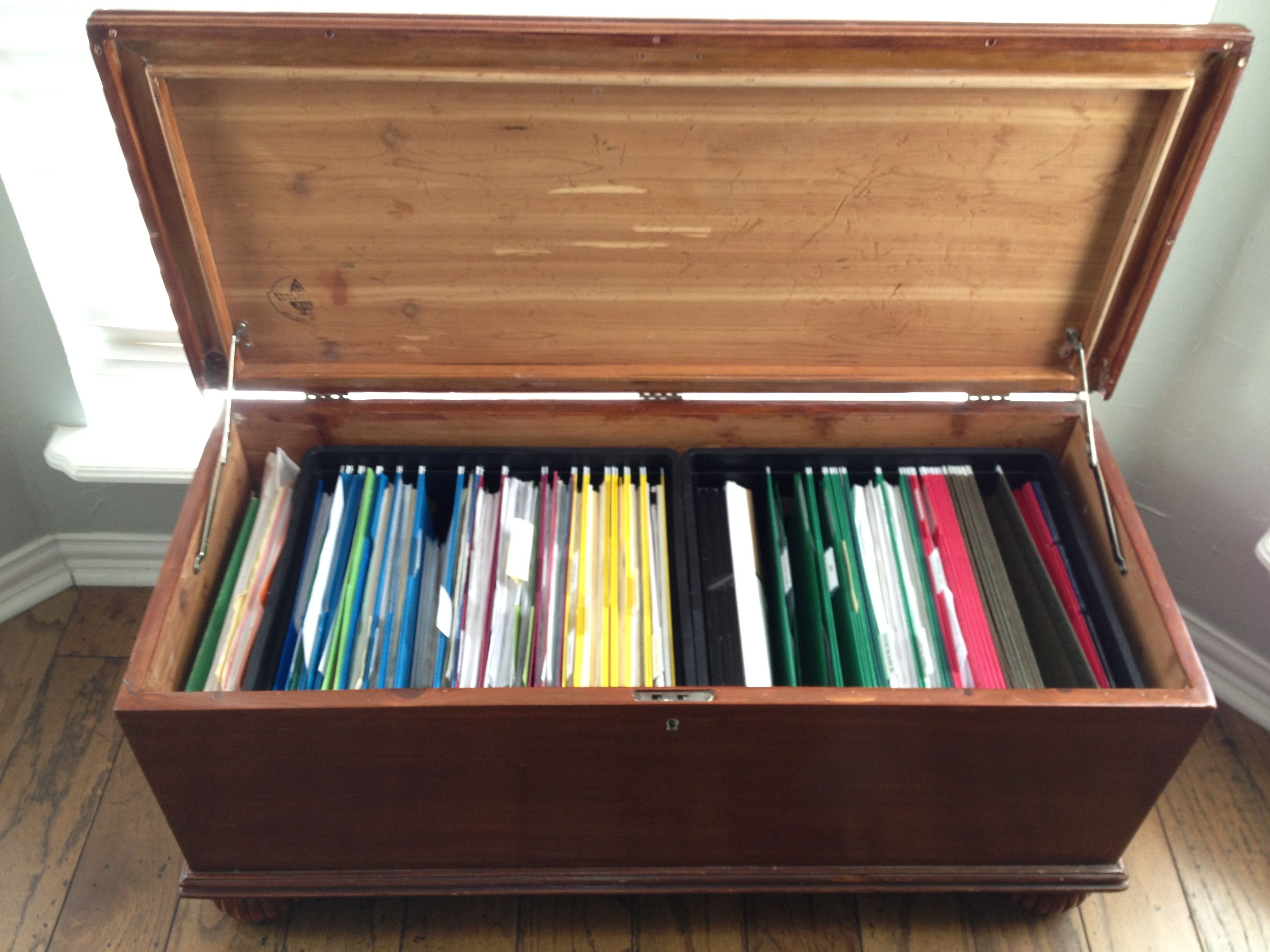 Cedar Chest Turned To Functional And Discrete Filing Cabinet