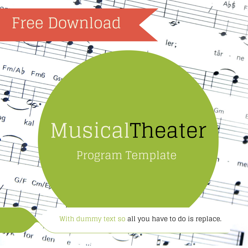 Free Musical Theater Program Template  With Dummy Placeholder