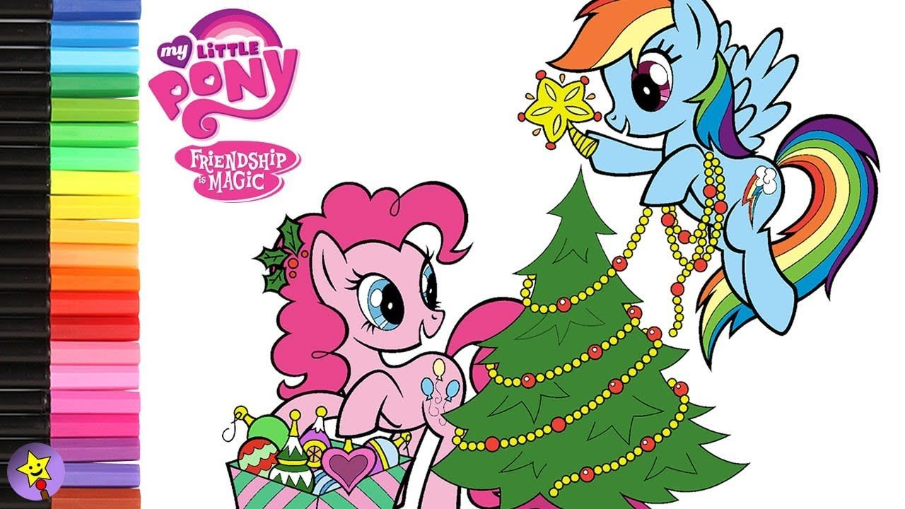 My Little Pony Pinkie Pie And Rainbow Dash Decorating The Christmas Tree Coloring Book Page Video Pinkie Pie My Little Pony Coloring Coloring Books Happy Magic
