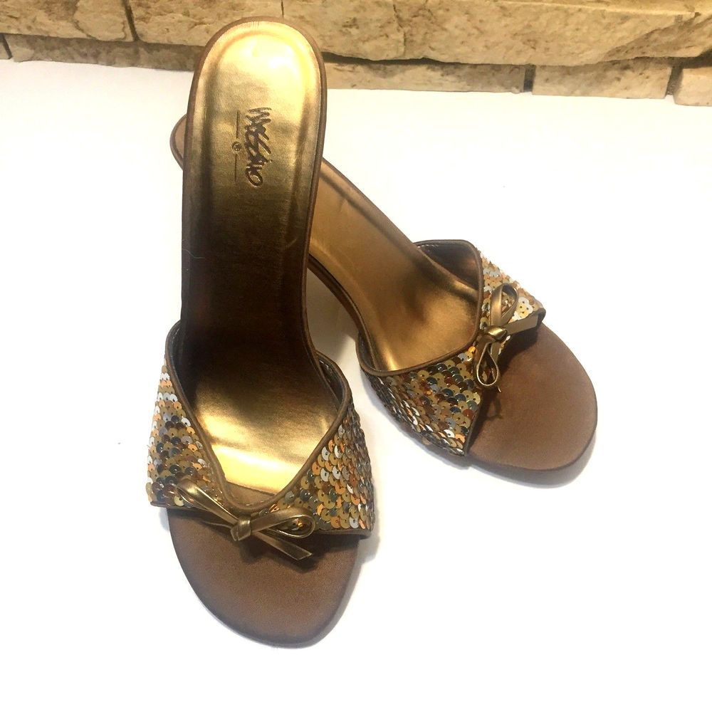 bb8fd7aaa74b Womens Mossimo Copper Bronze Metallic High Heel Slides Shoes Sequins Sz 7  Bling  Mossimo  Slides  Party