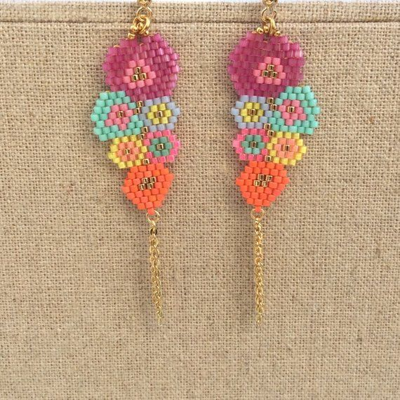 Miyuki rockery earrings of small multicolored flowers