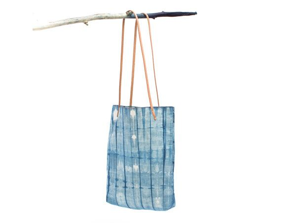 Marfa Tote : Natural Indigo Dyed Selvage Denim with Leather Straps in Pinstripe Pattern