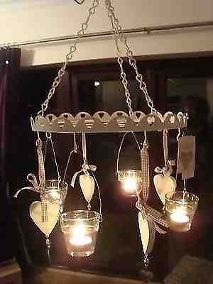 Tea light chandelier shabby chic rustic wedding garden with hearts tea light chandelier shabby chic rustic wedding garden with hearts aloadofball Gallery
