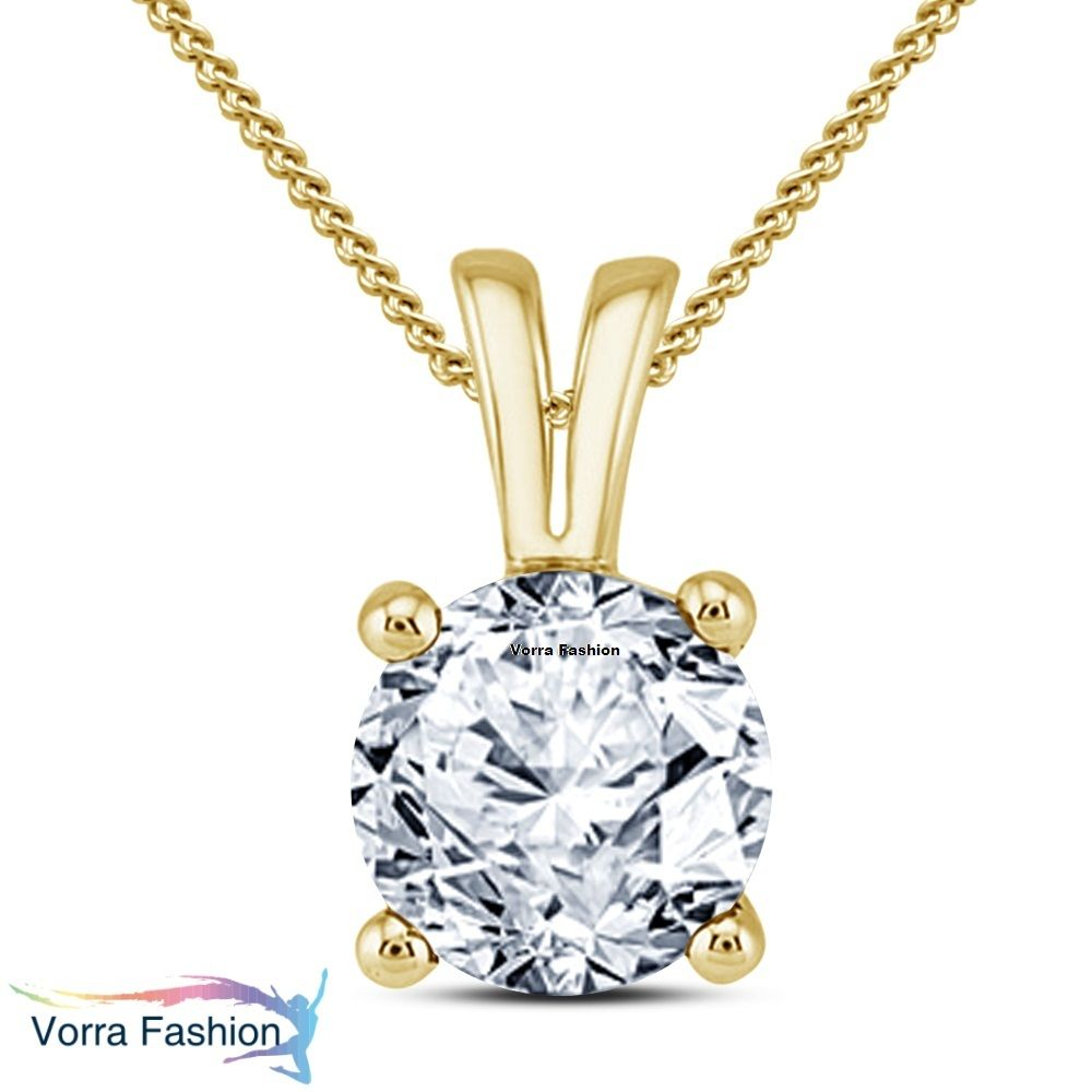 Solitaire pendant with chain round cut cz k yellow gold plated