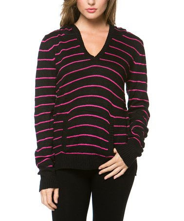 Black & Pink Stripe Hooded Sweater by Khloe Collection #zulily #zulilyfinds