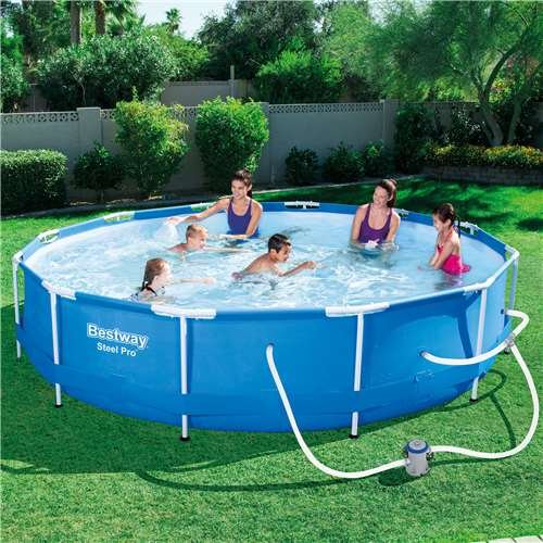 Amazon Com Bestway Steel Pro 12 X 30 Inch Frame Above Ground Swimming Pool With Filter Pump Garden Outdoor Above Ground Swimming Pools